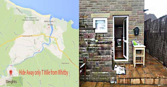 Sleights map and outside picture of the hide away apartment