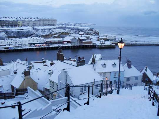 Whitby's 199 steps covered in snow looking very attractive