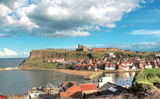 the weather is good in Whitby lots of sunshine