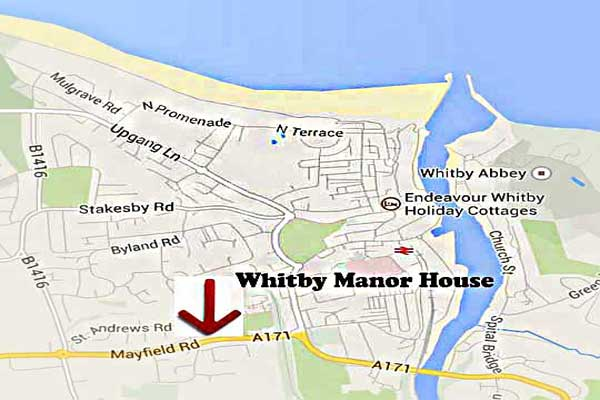 Whitby Manor House location map only a short walk into Whitby.