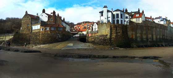 Robin hoods Bay from the beach looking towards the harbour