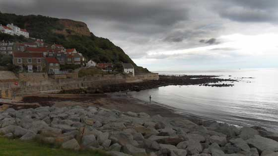 Runswick Bay looking over the beach towards the old white cottage