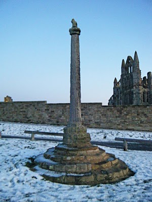 Whitby Abbey stone cross dating back to the 14th century
