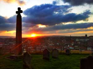 Caedmons Cross Whitby in front of St Marys Church  at the top of the 199 steps