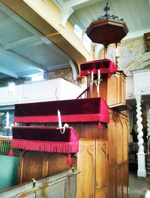 The three tier pulpit inside St Marys Church