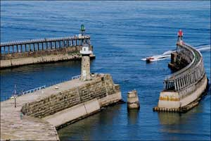 Whitby harbour from the air showing the
