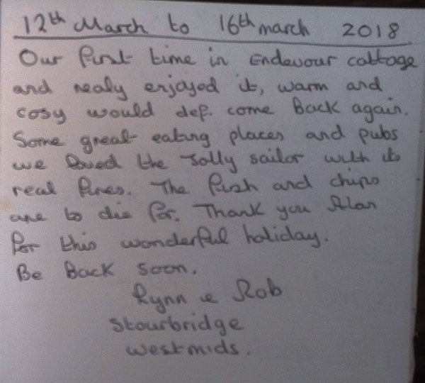 Endeavour Whitby Holiday Cottage Guest Book
